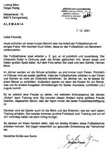 Fussballschule - Brief von Brigitte Pleyer